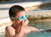 Portrait of Kid in Swimming Pool — Stock fotografie