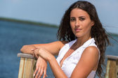 Portrait of latin woman in the seaside — Stock Photo