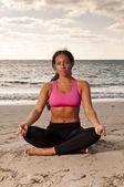 Meditation in the beach — Stock Photo