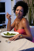 Wine and salad — Stock Photo
