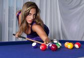 Sexy Girl in the billiard — Stock Photo