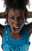 Girl screaming loud — Stock Photo