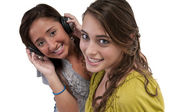 Friends listen music — Stock Photo