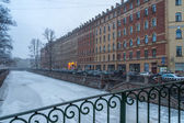 Snow storm in the streets of St. Petersburg — Stock Photo