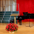Basket of red carnations on scene against black grand piano — Stock Photo #22459595