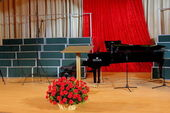 Basket of red carnations on a scene against a black grand piano — Stock Photo