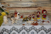Russian toy wooden woodpecker and other ancient toys — Stock Photo