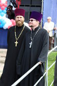 Priests on a holiday of Slavic writing and culture — Stock Photo