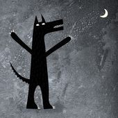 Arooo! A wolf howling at the moon. — Stock Photo