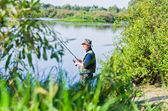 Fishing on the river — Stock Photo