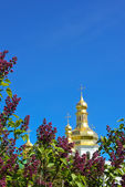 Lilac flowers on the backround of Orthodox сhurch — Stock Photo