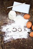 Eggs, flour, sour cream, notepads recipes — Stock Photo