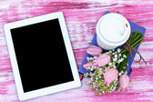 Diary, a tablet computer, a glass of coffee and  lilies of valle — Foto Stock
