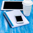 Diary, mobile phone, tablet PC and coffe — Stock Photo #49620401