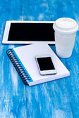 Diary, mobile phone, tablet PC and coffe — Stock fotografie