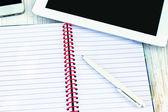 Diary, pen, tablet PC — Stock Photo