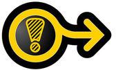 Alert icon with arrow — Stock Vector