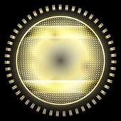Objeto círculo amarillo abstracto con rejilla — Vector de stock