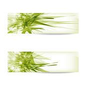 Twee groene abstracte banner — Stockvector