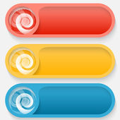Set colored abstract buttons with spirals — Stock Vector