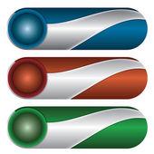 Zestaw trzech kolorowych przycisków — Wektor stockowy