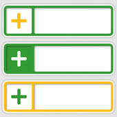 Set of three boxes for any text with plus sign — Stock Vector