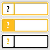 Set of three boxes for any text with question mark — Stock Vector