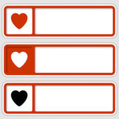 Set of three boxes for any text with hearts — Stock Vector