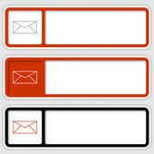 Conjunto de três caixas para qualquer texto com envelope — Vetorial Stock