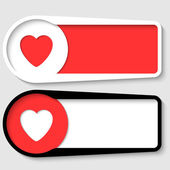 Set of two boxes for any text with heart — Stock Vector