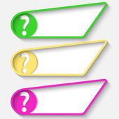 Set of three colored box for text and question mark — Stock Vector