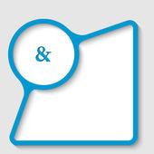 Blå textram med et-tecken — Stockvektor