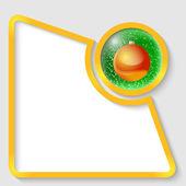クリスマス ボールと任意のテキストの黄色の抽象的なテキスト フレーム — ストックベクタ