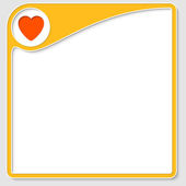 Yellow frame for text with heart — Stock Vector