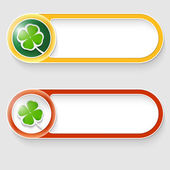 Two vector abstract buttons with cloverleaf — Stock Vector