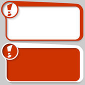 Two red vector text box and exclamation mark — Stock Vector