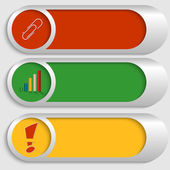 Conjunto de tres botones de plata — Vector de stock