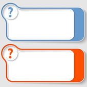 Set of two abstract text boxes with question mark — Stock Vector