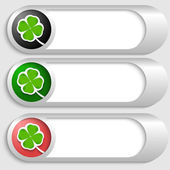Set of three silver buttons with cloverleaf — Cтоковый вектор