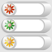 Set of three silver buttons with flowers — Cтоковый вектор