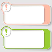 Set of two abstract text boxes with exclamation mark — Cтоковый вектор