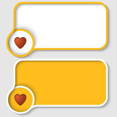 Two yellow text frame and heart — Stock Vector