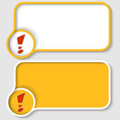 Two yellow text frame and red exclamation mark — Stock Vector
