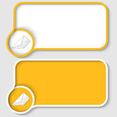 Two yellow text frame and envelope — Stock Vector