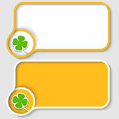 Two yellow text frame and cloverleaf — Stock Vector