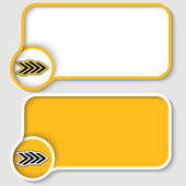 Two yellow text frame and abstract arrow — Stock Vector
