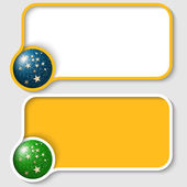 Two yellow text frame and stars with falling snow — Stock Vector