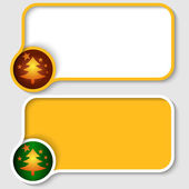 Two yellow text frame and Christmas tree — Stock Vector