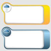 Conjunto de dois quadros de texto abstrato com ícone de nuvem — Vetor de Stock