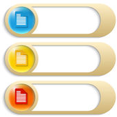 Set of three golden buttons with notes icons — Stock Vector